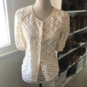 Anthropologie lace button up top